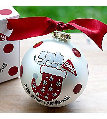 "4"" University of Alabama ""My First Christmas"" Glass Keepsake Ornament with Gift Box #UA-STOK1"
