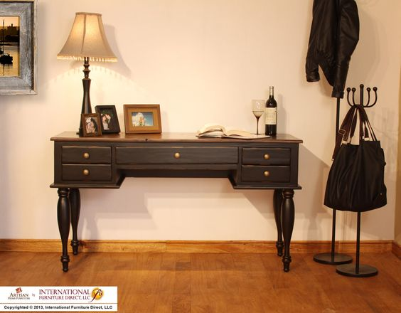 Model Item Dimensions Ifd433desk B Two Tone Antique Desk W Black Rubbed Finish 56 3 4 X 20 3 4 X 31 Features Furniture Direct Furniture Dream Living Rooms