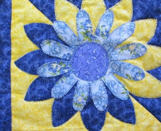 Come and see the new table runner!  Bright blue and yellow - perfect for a summer table.