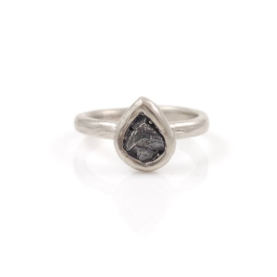 Single Meteorite Ring in Palladium/Silver - size 4 3/4 - Ready to Ship