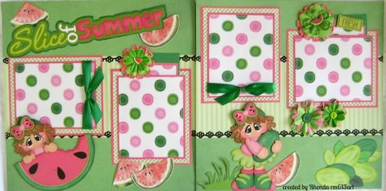 Summer fun Girl premade 12 x 12 scrapbook pages w/paper piecings-Rhonda rm613art