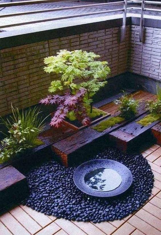 small rooftop garden with water features #gardenIdeas #garden #gardening #plants #homeDecor #indoor