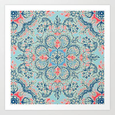 Gypsy Floral in Red & Blue Art Print by Micklyn - $16.00