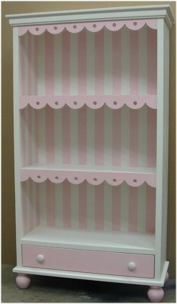 So pretty!  Cottage Scalloped Children's Bookcase w/Drawer