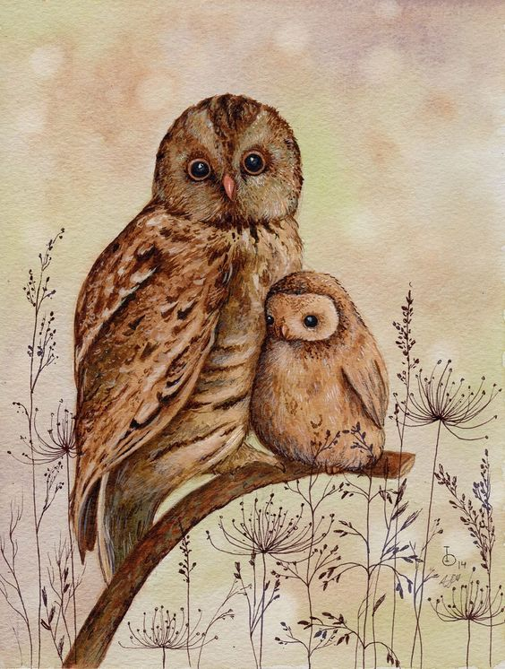 Mummy and Baby Owl Art Print from an original painting by TinyRed on Etsy https://www.etsy.com/listing/215111379/mummy-and-baby-owl-art-print-from-an