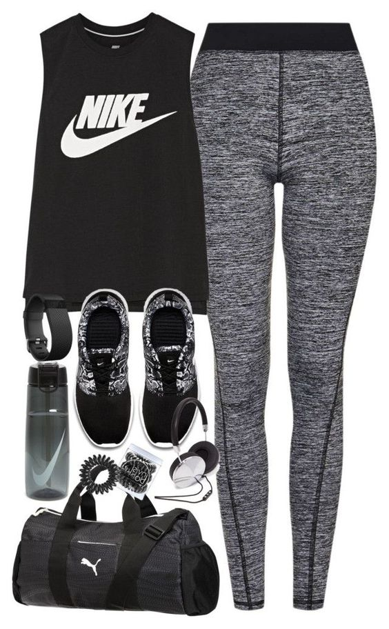 """""""Outfit for the gym"""" by ferned on Polyvore featuring Topshop, NIKE, Puma, Fitbit, Invisibobble and Forever 21"""