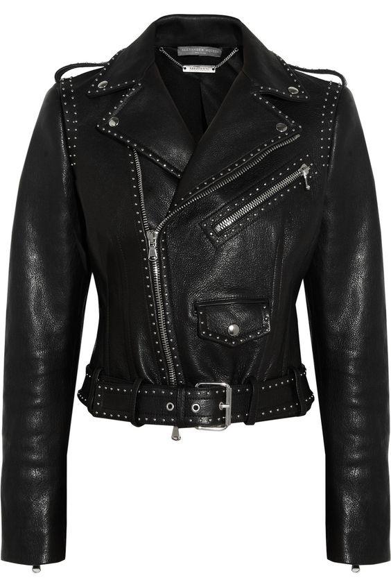 Alexander McQueen|Studded leather biker jacket|NET-A-PORTER.COM