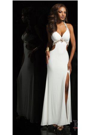 White Sweetheart halter floor length beads Prom Dress