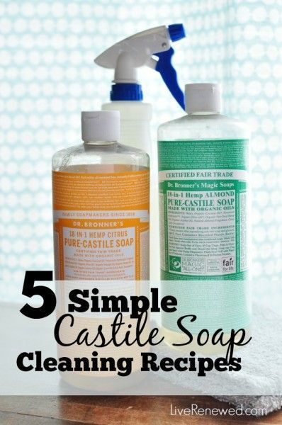 Replace five conventional household cleaners with these simple castile soap cleaning solutions. Save money and eliminate toxic cleaners from your home!