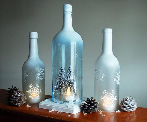 Winter Wonderland Wine Bottle Hurricane Candle Holder by DSdecor, $40.00
