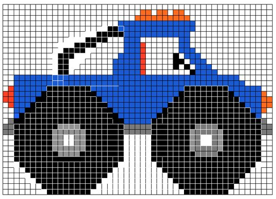 Monster truck craft car theme pinterest stitches for Cross stitch wall mural