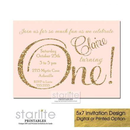 Blush Pink First Birthday Invitation, 1st ONE, pink gold glitter