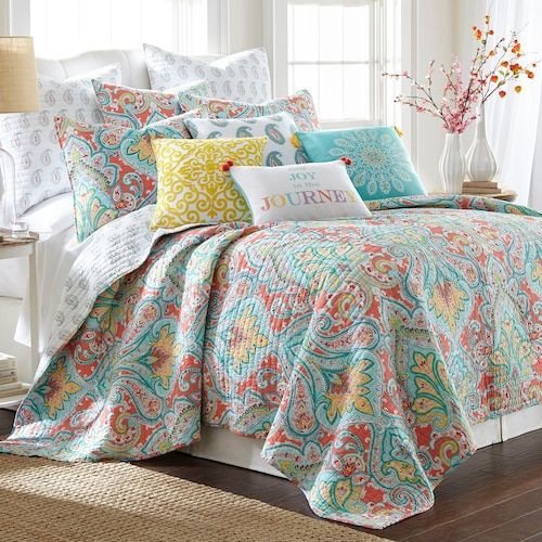 Levtex Tribeca Quilt Set Bright Bedding Cotton Quilt Set Teal