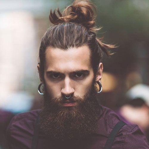 Hipster Man Bun Long Beard Mens Hairstyles With Beard Hair And Beard Styles Cool Hairstyles For Men