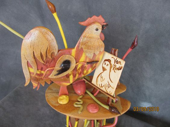 Dead dough rooster showpiece