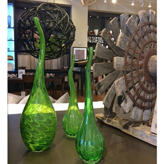 Green vases add a pop of spring color to the HW Home store in Landmark.