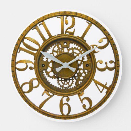 Inner Workings Clock Zazzle Com In 2020 Gear Wall Clock Antique Wall Clocks Wall Clock Design
