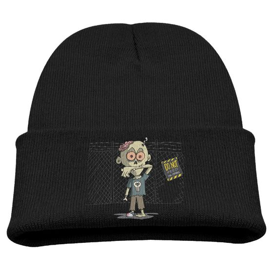 DO NOT FEED THE ZOMBIES Kids Skullies And Beanies Black. Surface Material: 85% Cotton. Knit Skullies. Stylish Outdoor Activities. 7.8 Inch Depth. Hand Wash.