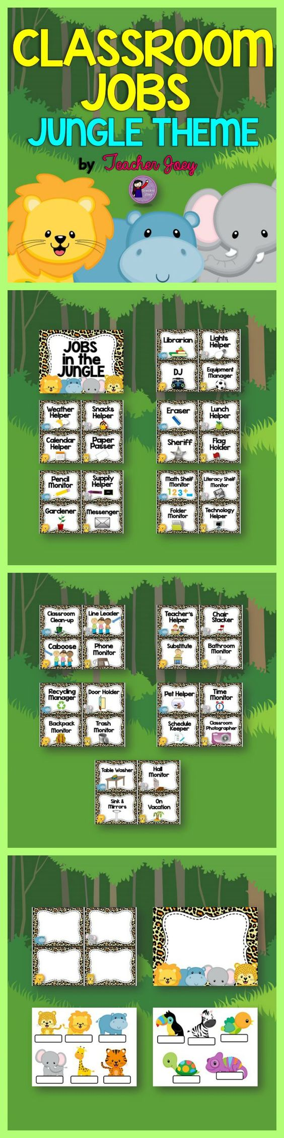 Jungle Theme Classroom Jobs This set includes 40 classroom job labels for your Jungle-Themed classroom!  Please see the preview!  I also included a ppt file with 4 pages of templates for your customization. Just insert text boxes and type in your desired text!
