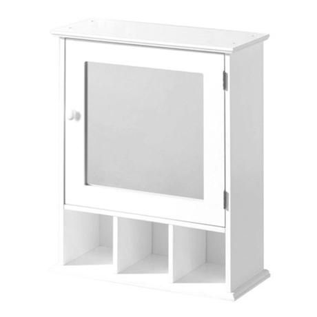 white wood wall cabinet with 3 compartments and mirrored door