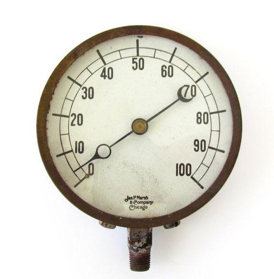 Industrial pressure gauge vintage steampunk lg jas p marsh chicago brass ring m619 gauges - Steampunk pressure gauge ...