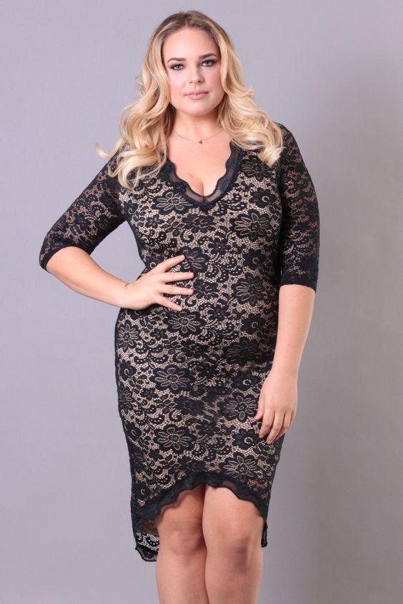 Plus Size Lets Lace Around Dress - Black