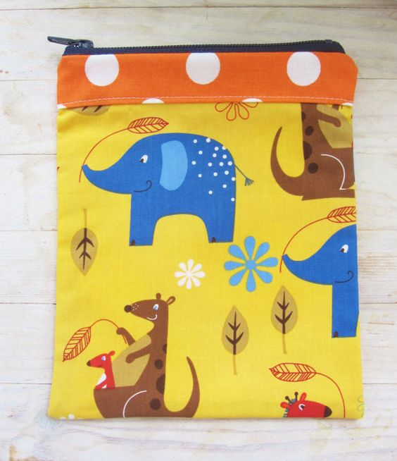 Zipper pouch pencils case cosmetic bag kids sunny by poppyshome, €14.00
