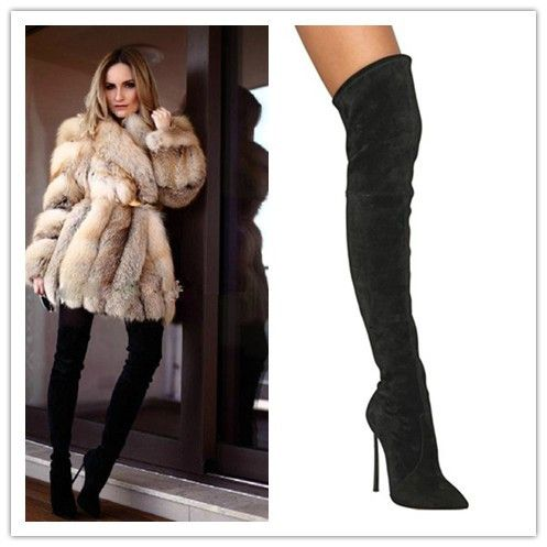 Free-Shipping-Black-Over-Knee-Women-Boots-Pointed-Toe-Thigh-High ...
