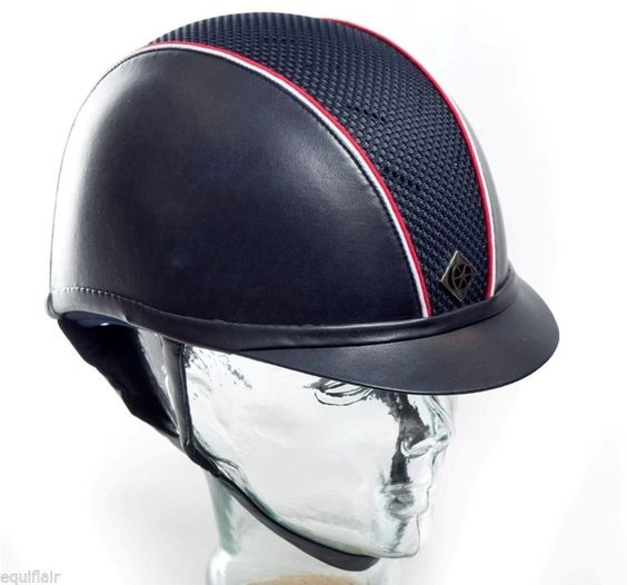NEW CHARLES OWEN LEATHER LOOK AYR 8 WITH PIPING - NAVY WITH RED AND WHITE PIPING