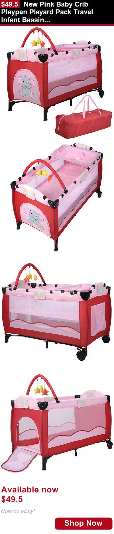 Baby Play pens and play yards: New Pink Baby Crib Playpen Playard Pack Travel Infant Bassinet Bed Foldable BUY IT NOW ONLY: $49.5