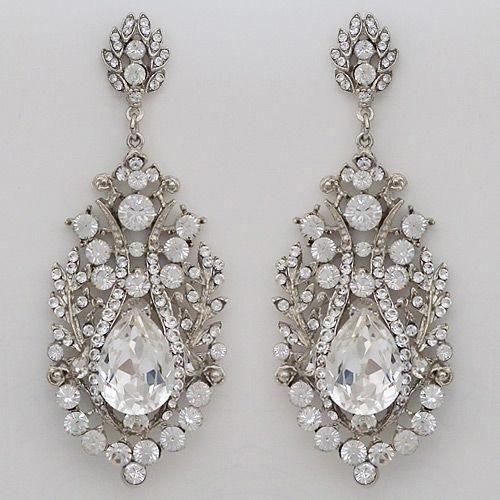 Vintage Hollywood Glam Chandelier Earrings Spectacular Crystal Wedding Bridal Earrings Wedding Jewelry Sets Pearl Jewelry Wedding Wedding Jewellery Necklace