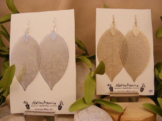 Light and airy filigree leaf earrings.