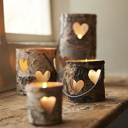 These little birch lanterns will warm the hearts of your guests this winter.: