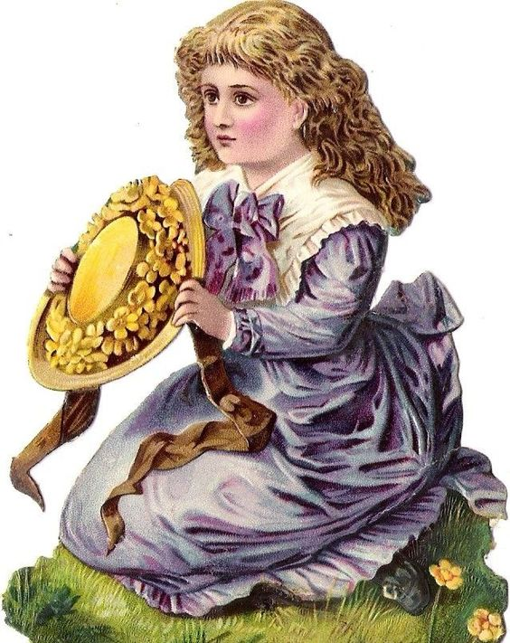 Oblaten Glanzbild scrap die cut chromo Kind child girl Mädchen hat Hut Wiese: