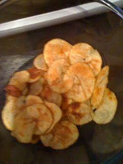 Syn free crisps - potato (paper tin cut) fry light, salt n pepper, microwave 6 mins until crispy :)
