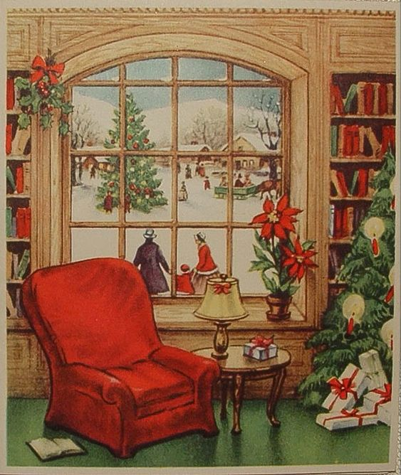 Window view at Christmas.: