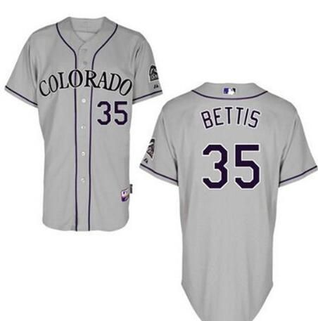 Men's Colorado Rockies #35 Chad Bettis Gray Road Stitched Baseball Jersey