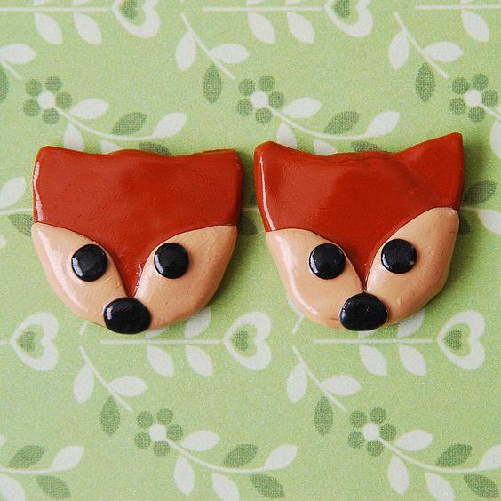 Fox Clip on Earrings. £5 + £1 P&P. (Handmade polymer clay jewellery from Little Screechy's Magical Corner)