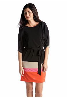 Jessica Howard Three-Quarter Sleeve Color Block Dress