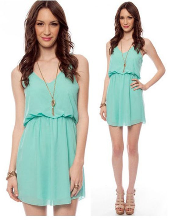NWT MINT GREEN CHIFFON FLOWY TWO STRAP SHORT SLEEVE MINI TANK DRESS