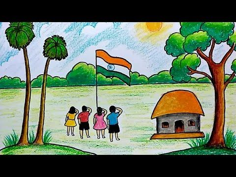Republic Day Special Drawing For Kids Step By Step Village Scenery Drawing For For Kids Scenery Drawing For Kids Independence Day Drawing Drawing For Kids