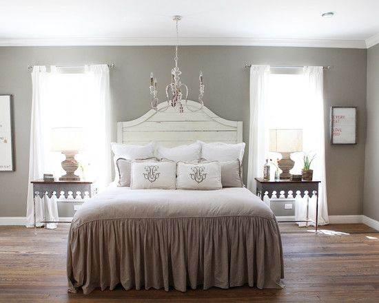 Adorable Farmhouse Bedroom For Remodeling Ideas With Light Gray Wall Paint Color Also Elegant Queen Size Bed Brown Quilt