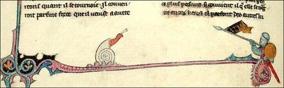 Knight jousting with snail, Brunetto Latini, Li Livres dou Tresor, St Petersburg Manuscript, fol. 30v: