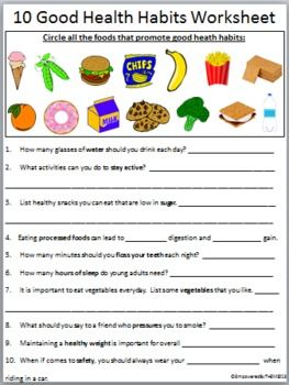 Printables Healthy Living Worksheets 10 good health habits and worksheets worksheet