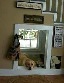 "Love the dog spot under the stairs, or for like a basement stair case; turn in into a ""play house"" for kids.:"