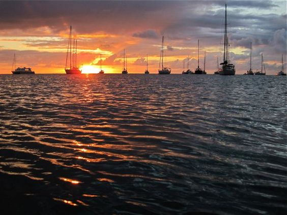Sunset in Deshaies, Guadeloupe.