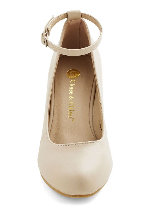 Take a Stride With Me Wedge in Cream. Some may take a spin around town to show off their fancy new car, but your type of joy ride is one spent navigating about in these cute cream shoes. #cream #modcloth