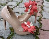 Coral clips for shoes made of leather. Sho. Сlip-flowers for shoes. Decoration for shoes