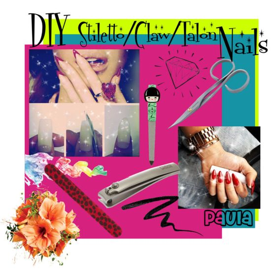 """DIY Stiletto/Claw/Talon Nails"" by the-diy-tipster-girls on Polyvore"