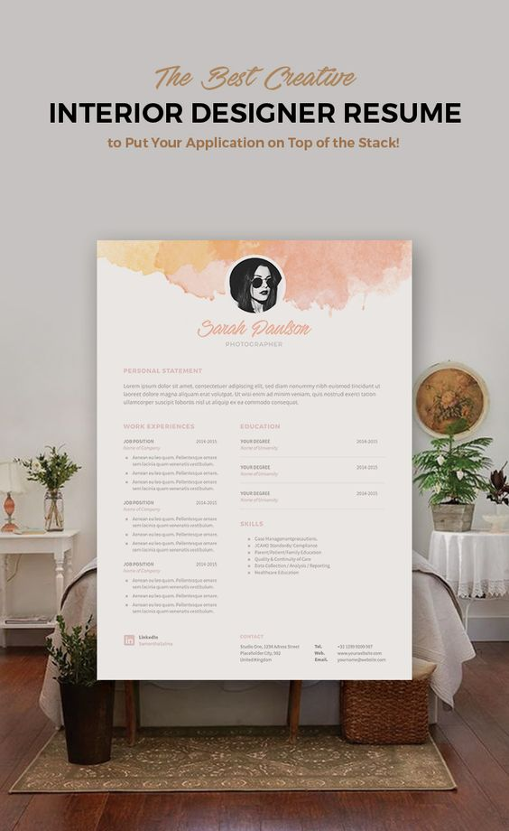 Creative Resume Template Instant Download + Cover Letter Format - interior design resume templates